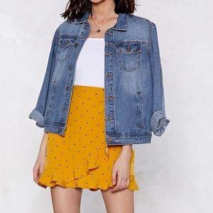 Nasty Gal Yellow Dot Ruffle Wrap Skirt